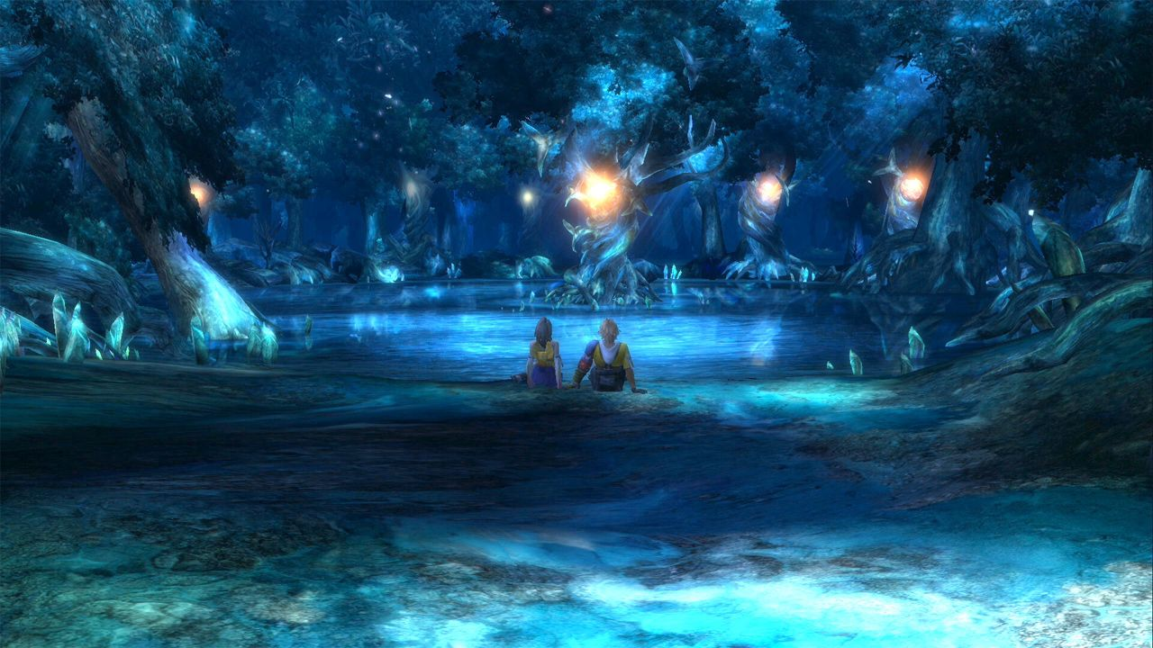 """Spätestens seid der wunderschönen Tanz-Szene aus Final Fantasy 8 haben die Autoren erkannt, dass Liebesszenen einen festen Platz in ihren Spielen bekommen sollten. Auch X hat eine zwischen Yuna und Tidus erhalten, die mit einem Song der Sängerin Rikki Nakano namens """"Suteki Da Ne"""" unterlegt wurde. Das mag aus der Distanz alles furchtbar kitschig anmuten, doch wer viel Zeit in das Spiel und ihre Charaktere investiert hat, erlebt diese romantischen Szenen anders als außenstehende Personen. Da können die Tränchen durchaus mal kullern, sofern man den aufgeblasenen Tidus verkraftet hat."""